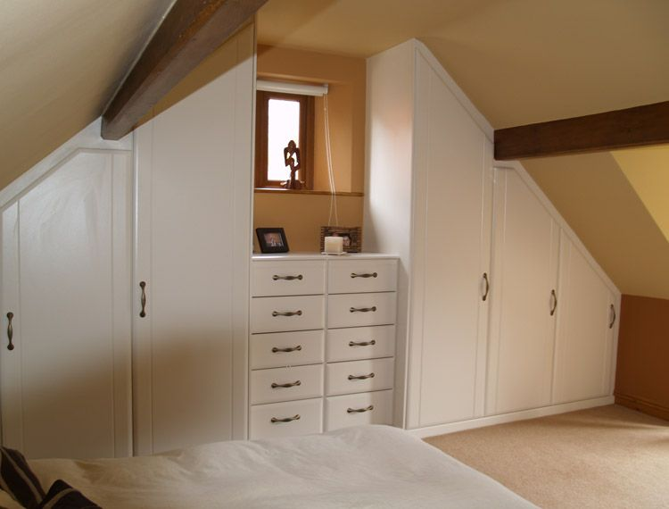 Ideas, White Sloped Ceiling Wardrobe Plus Simple Dresser With Storage  Drawers Applied In Traditional Attic Bedroom Designs Wonderful As.