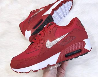 competitive price 1122d e8115 Nike Air Max 90 Gym Red Black White customized with SWAROVSKI® Xirius Rose-Cut  Crystals.