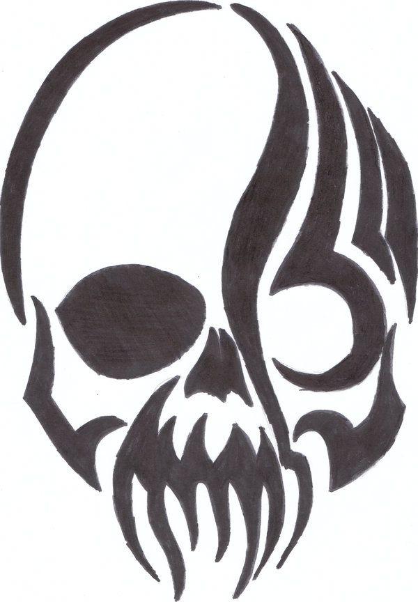 Easy Emo Art  tribal skull by justanotheremokid on DeviantArt