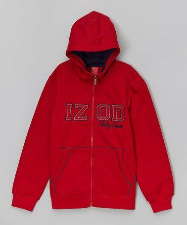 Look what I found on #zulily! Red Fleece Zip-Up Hoodie - Boys by IZOD #zulilyfinds