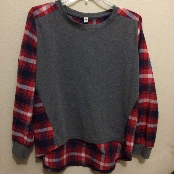 Plaid top Plaid back, gray front Tops Tees - Long Sleeve