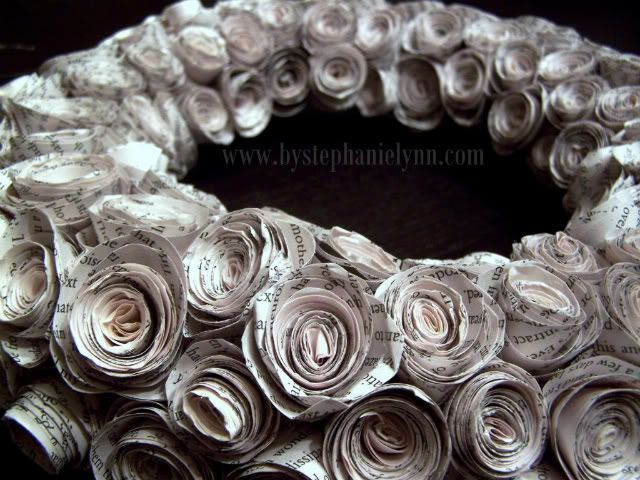 Rolled Recycled Book Pages Wreath