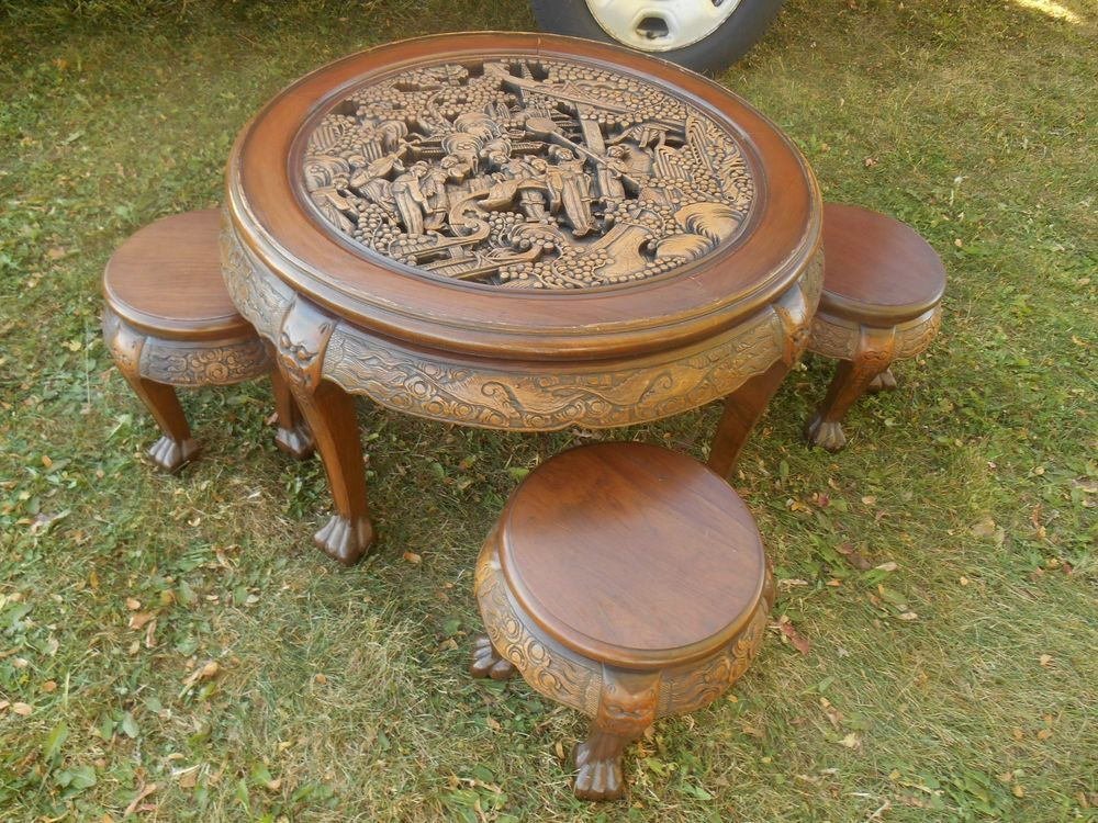 Vintage RARE Oriental Chinese / Japanese Hand Carved Coffee Table U0026 Stools  In Home U0026 Garden