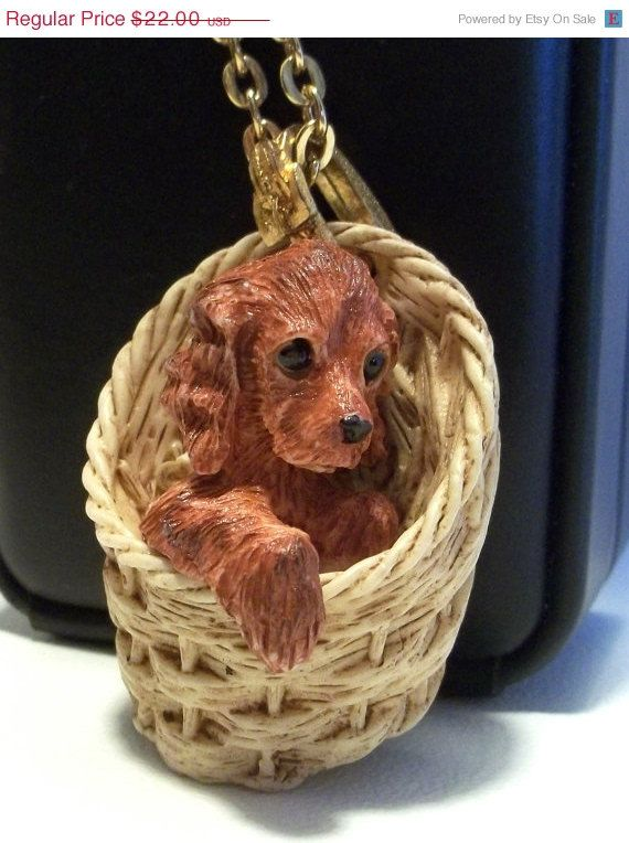 Puppy in Basket L Razza Red Cocker Spaniel Reg Price 22