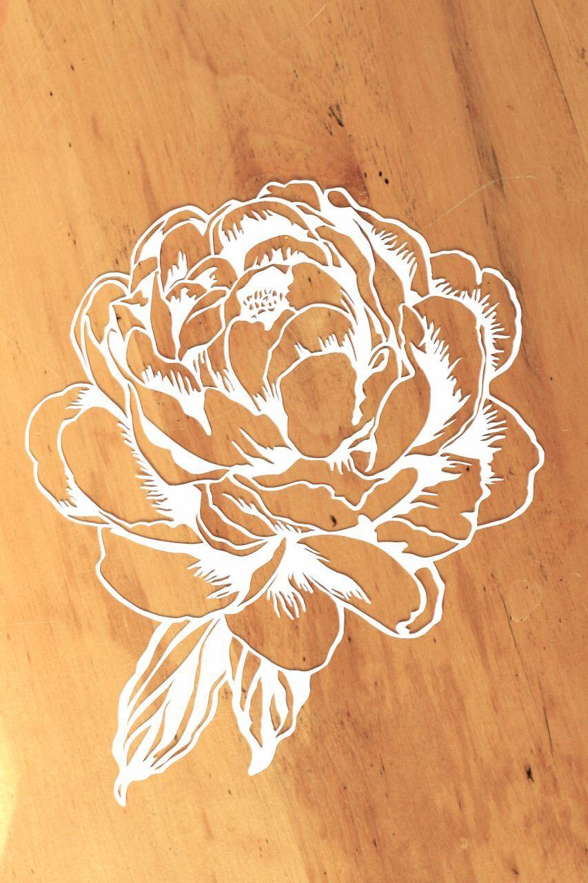 Original Peony Papercut Art 8x105 Original White Flower Cut Out