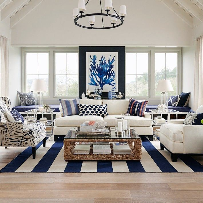 Bring The Shore Into Home With Beach Style Living Room: Hamptons Elegance In Navy (Coastal Style)