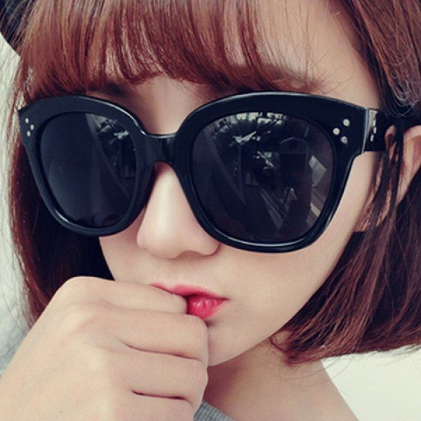 Chic Polka Dot Shape Inlay Embellished Big Frame Women's Sunglasses #women, #men, #hats, #watches, #belts