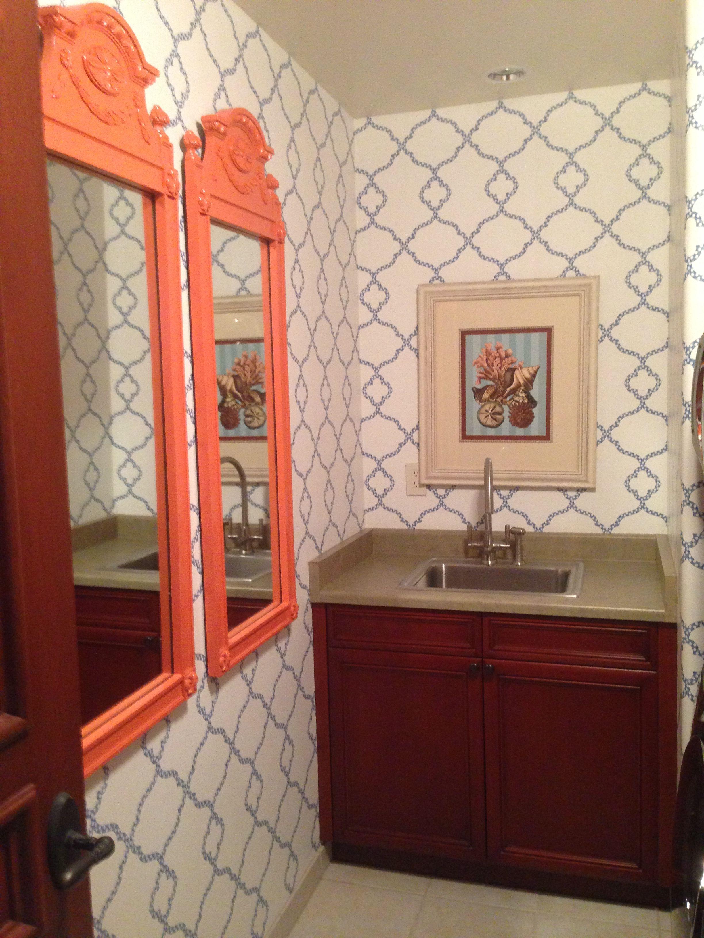 Orange & blue bathroom | Bathroom, Mirror, Vanity
