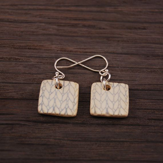 Square Baby Blue Knit Texture Earrings by jenniethepotter on Etsy, $18.00