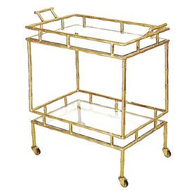 Picture of Brass Bamboo 2-Tier Bar Cart