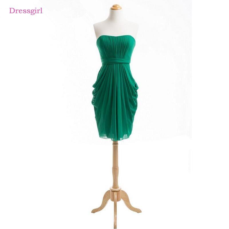Green 2018 Cheap Bridesmaid Dresses Under 50 Shearh Sweetheart Chiffon  Short Mini Backless Short Wedding Party 2ca8b801e5f0
