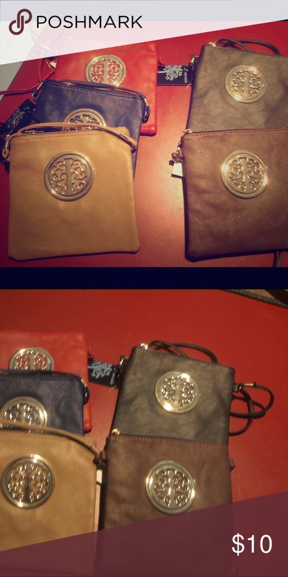 Shoulder Cross Body Bag With Tree Logo Square For Your Wallet And Cellphone Choose From 5 Colors Red Black Tan