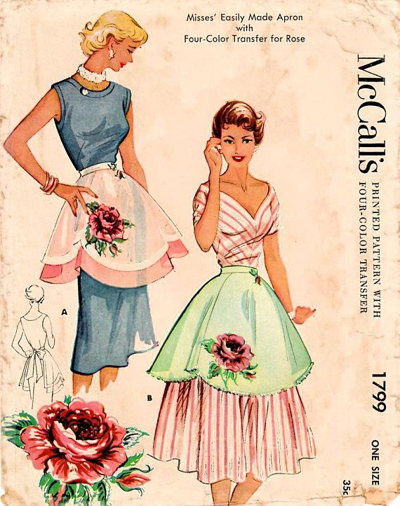 1950s McCall\'s 1799 Vintage Sewing Pattern Misses Scalloped Apron ...