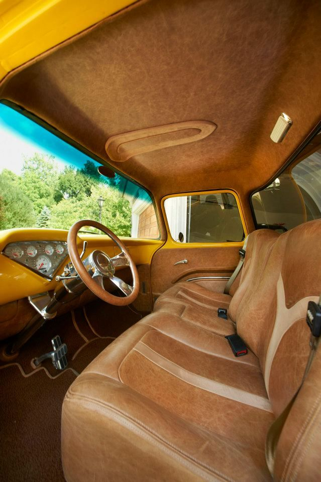 1955 Chevy Distressed Nutmeg Kenya Latte Upholstered By County Seats Photography By Michael Mandolfo Custom Car Interior Truck Interior Automotive Upholstery