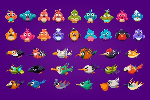 Funny cartoon birds by TopVectors on Creative Market