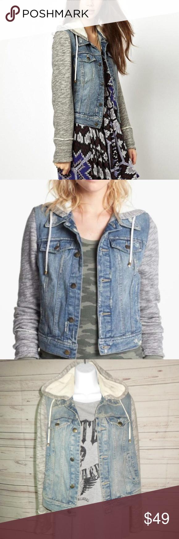 Free People Distressed Denim Hooded Jean Jacket Sp Distressed Denim Hooded Jean Jackets Clothes Design [ 1740 x 580 Pixel ]