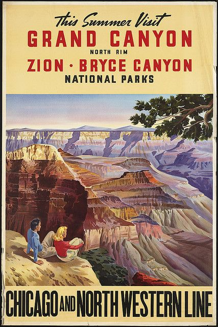 Art 24x36 1950s Visit Grand Canyon Zion Bryce Vintage Style Train Travel Poster