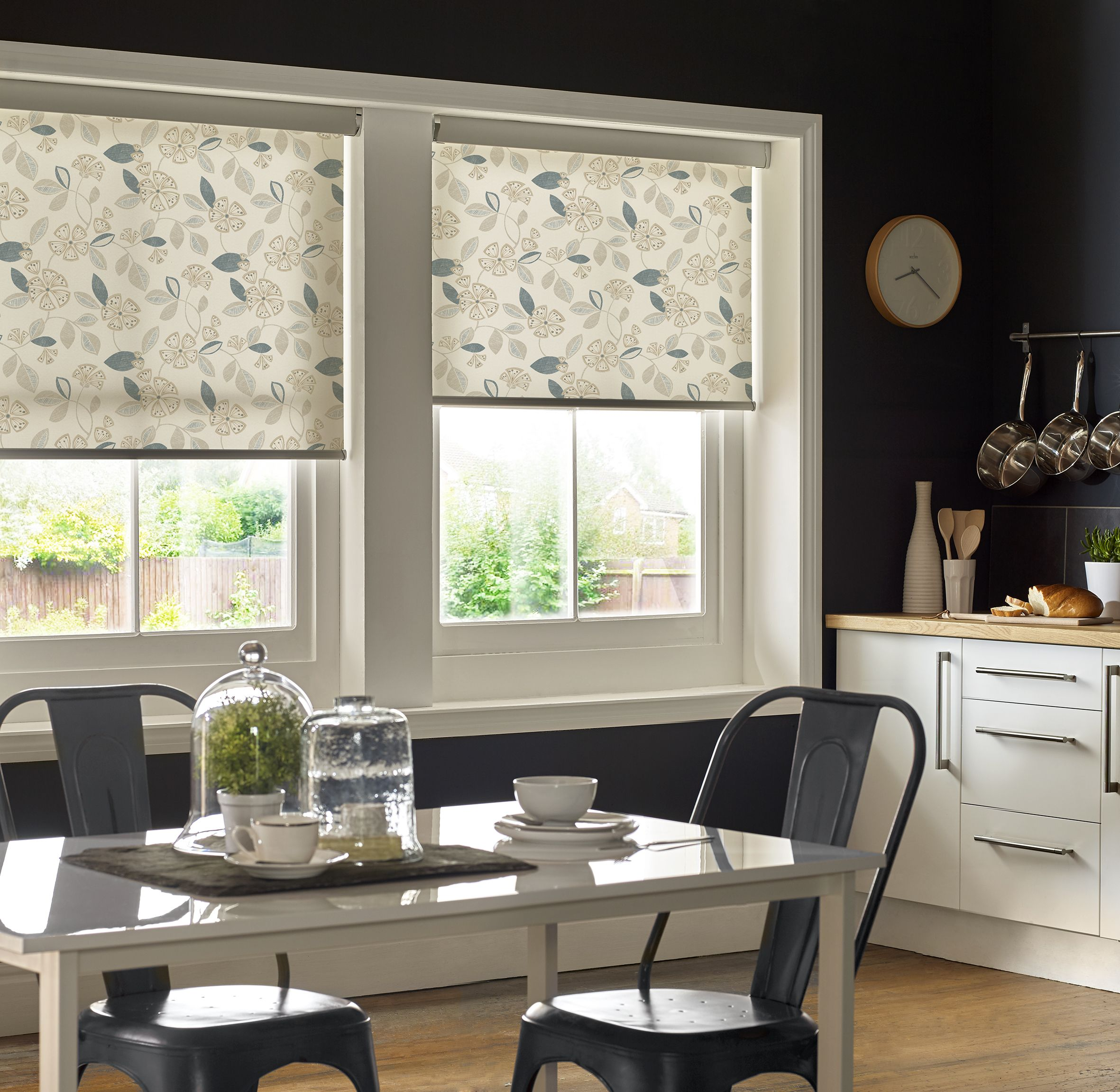 Flaire Neutral Roller Blinds. Floral Kitchen Roller Blinds