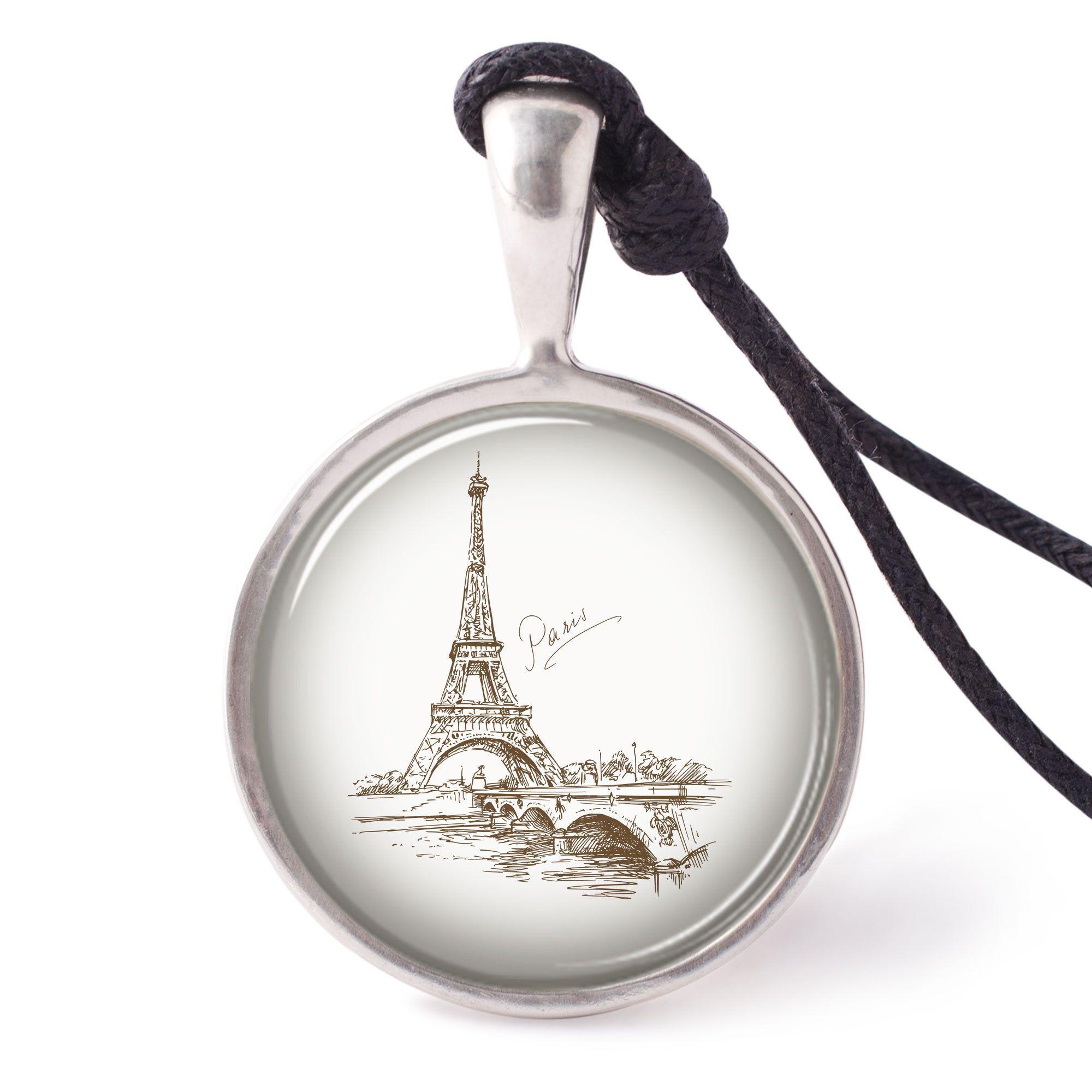 vietguild Hand Drawn Eiffel Paris Necklace Pendants Pewter Silver