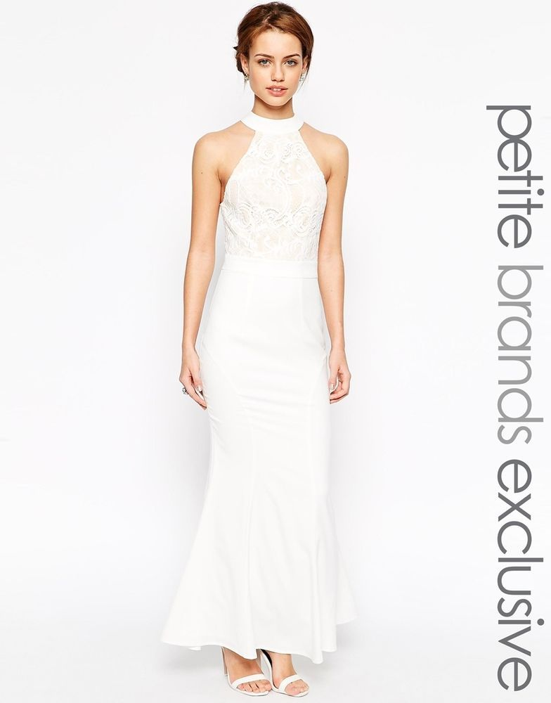 Jarlo Petite Verity Embroidered Halter Neck Dress In White Uk 12 Eu 40 Us 8 Evening Dresses Uk Petite White Dress Halterneck Dress