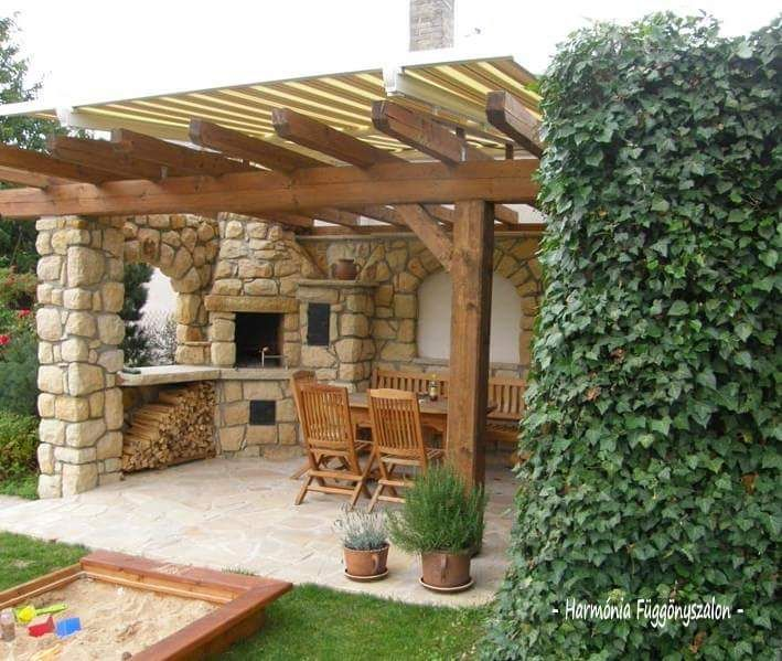 Pin By Andu On Terasa Letna Kuchyna Backyard Pavilion Outdoor Fireplace Outdoor Kitchen Design