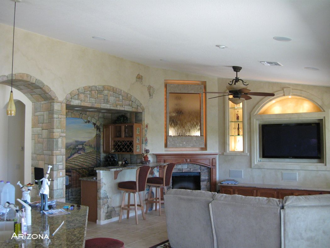 Tuscan Themed Living Room, Painted Vineyard Mural, Custom Tuscan Wall  Mounted Water Feature.