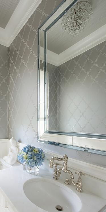 White And Silver Bathroom Features Top Half Of Walls Clad