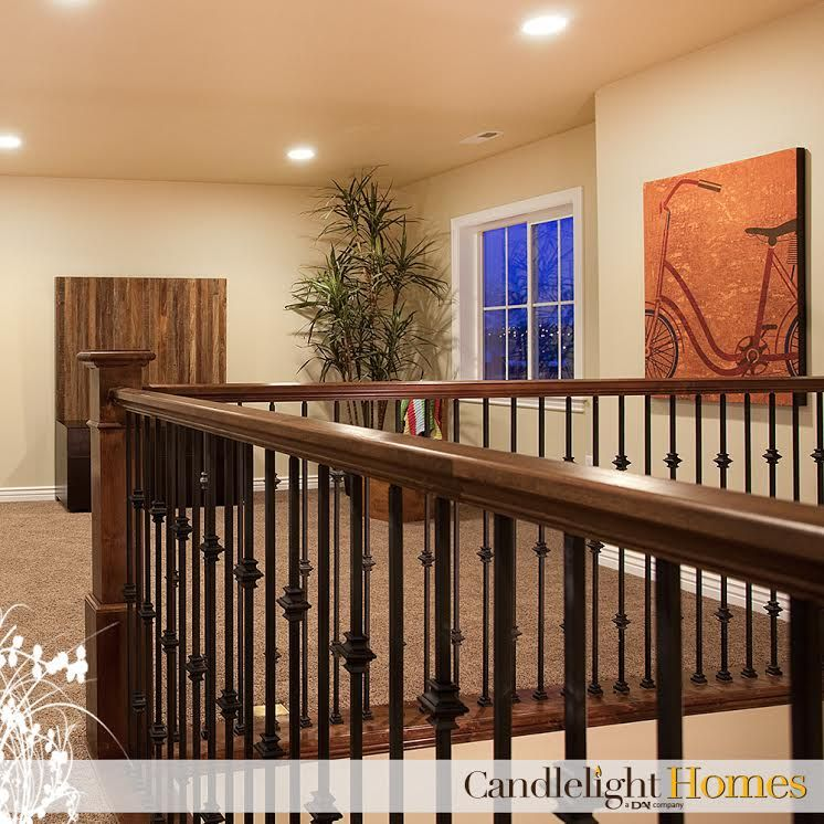 CandlelightHomes.com, Utah, Homebuilder, Brown Staircase, Brown Railing,