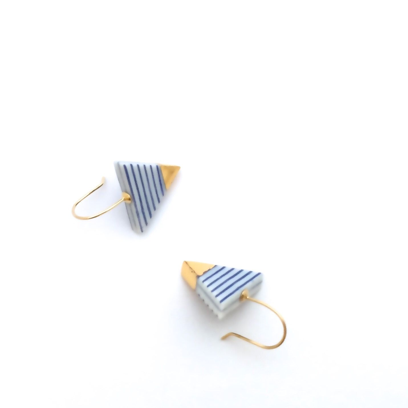 Porcelain ceramic earrings, minimalist jewelry, gold ...