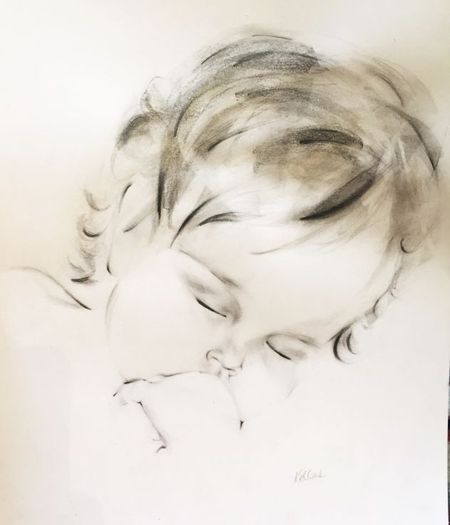 ARTFINDER: Charcoal and Ink Drawing of Sleeping ... by Kellas Campbell - This is my drawing of Becky, a beautiful little girl.