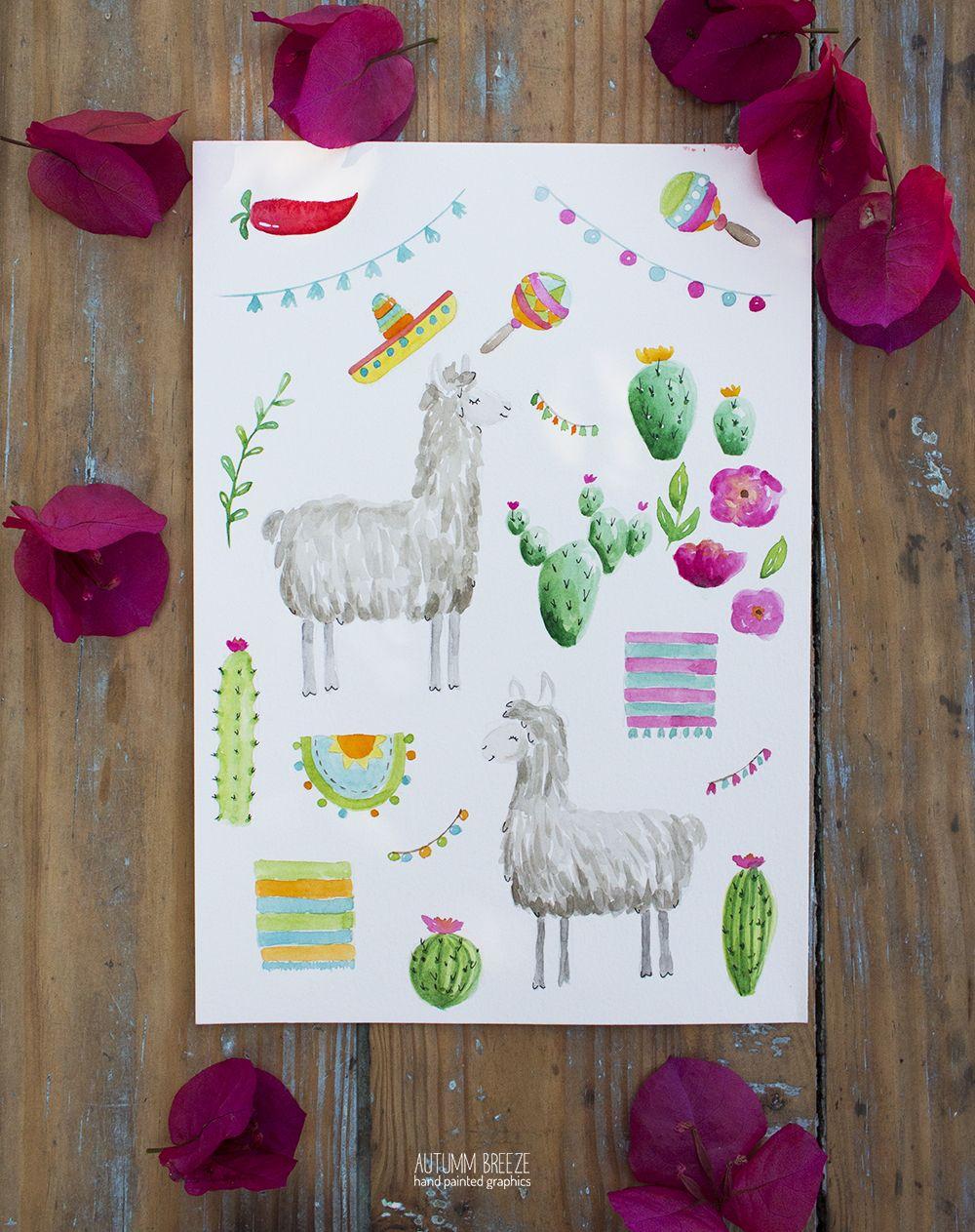 Llama Clipart Watercolor Llama Alpaca Party Clipart