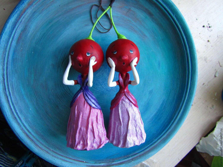Купить Ёлочная игрушка графини Вишенки - бордовый, графини вишенки, чиполлино, Папье-маше