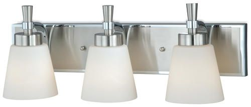 "Griffin 3-Light 21.75"" Satin Nickel with Chrome Vanity ..."