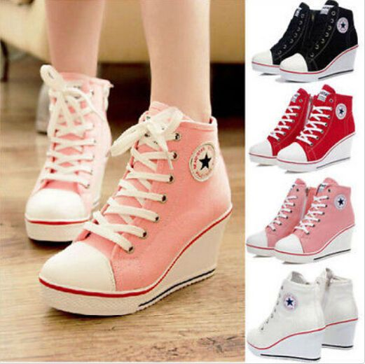 3824e1e823a1bd 2016 Women Girl High Top Lace Up Canvas Sneakers Platform Wedge Heel Sport  Shoes