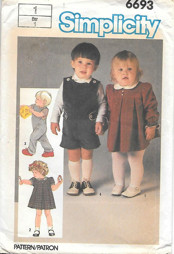 Simplicity 6693 Toddler Dress And Overalls In Two Lengths Vintage