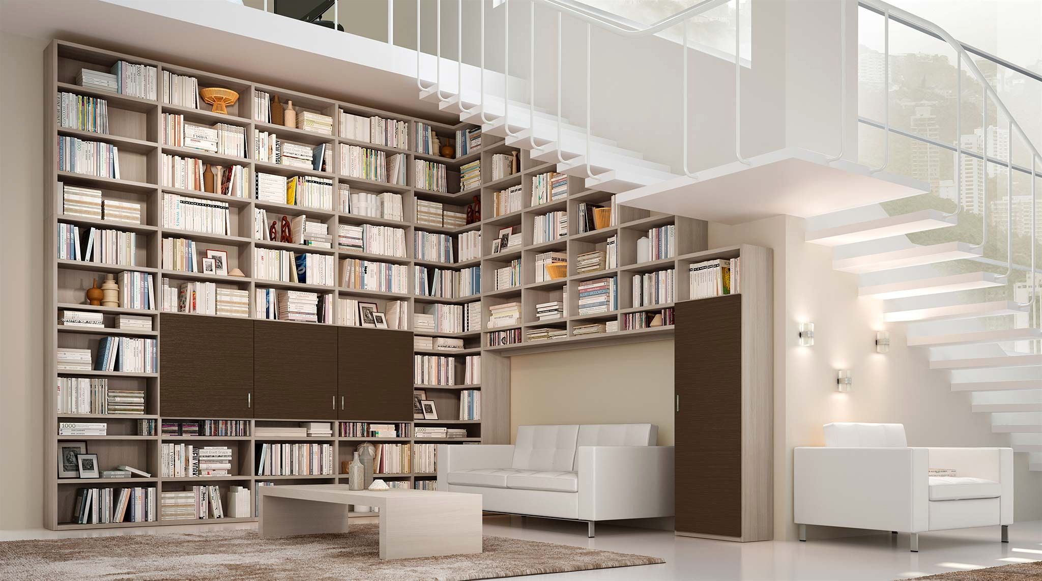 Libreria A Muro Mondo Convenienza Con 100 Mobili Per Soggiorno ...