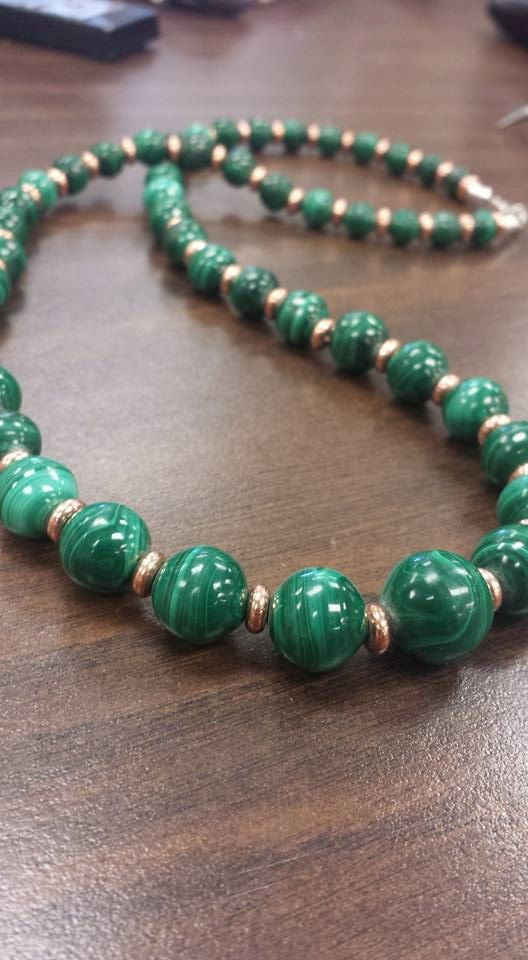 Malachite and Copper Necklace by River1Stone4 on Etsy