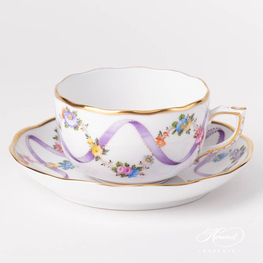 Tea Cup - Flower Garland w. Lilac Ribbon #teacups