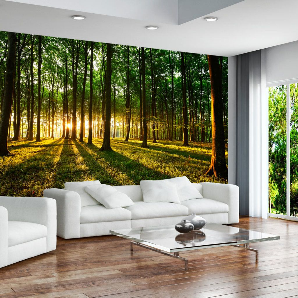 vlies tapete top fototapete wandbilder xl 350x245 cm wald sonnenschein natur baum design. Black Bedroom Furniture Sets. Home Design Ideas
