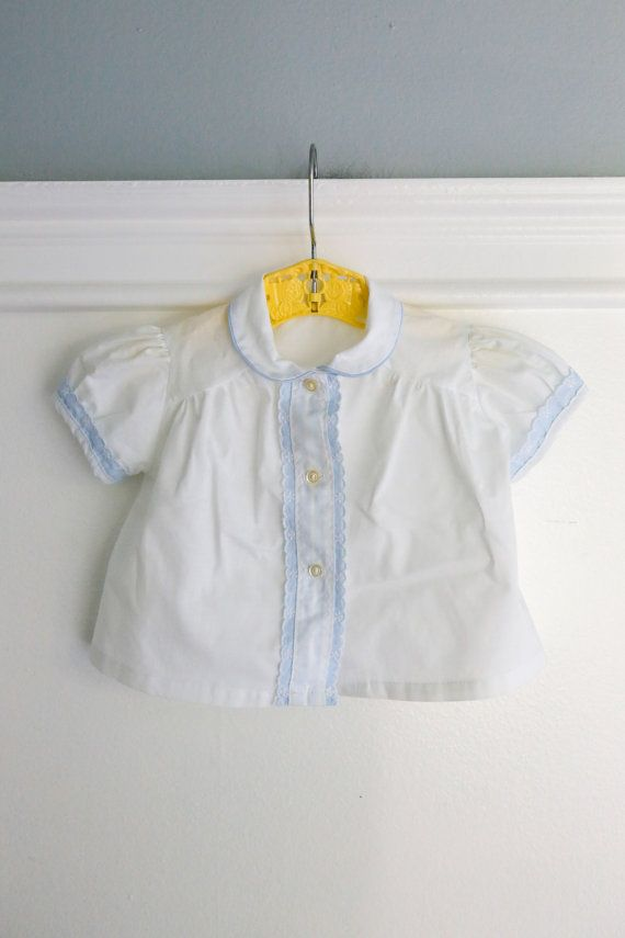 Embroidered Yoke Collar Bib Front White 100/% Cotton Baby Girl