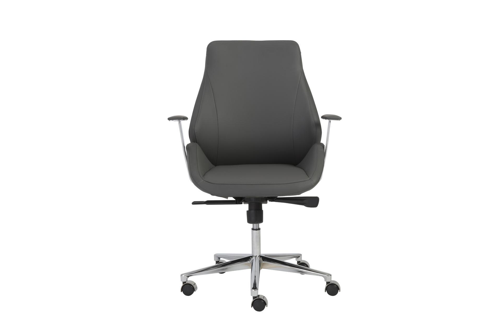 Viborg Grey Vegan And Chrome Low Back Desk Chair - $595
