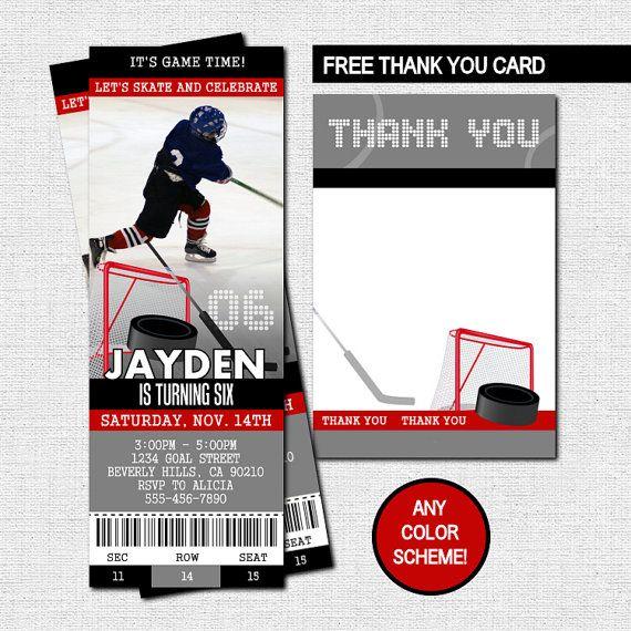 Hockey Ticket Invitations Bonus Thank You Card Printable