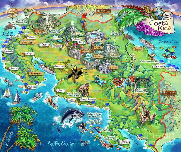 costa rica karte sehenswürdigkeiten Costa Rica map illustration Poster by Maria Rabinky   Costa Rica