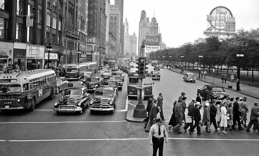 Michigan Ave street scene Chicago with old vintage antique cars ...