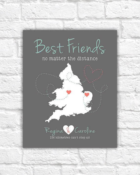 True Friendship Gift England Uk Ireland Map Long