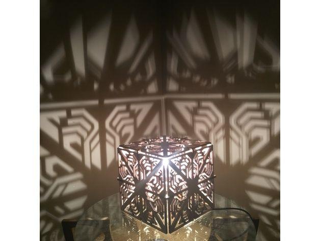 Cube shadow lamp laser cut by geolume
