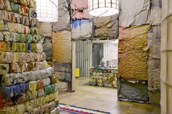 "Michael Beutler – ""Wursthäuser und Wand"" (2014), Installation view of ""Haus Beutler"", La Loge, Brussels; Photo by Lola Pertsowsky"