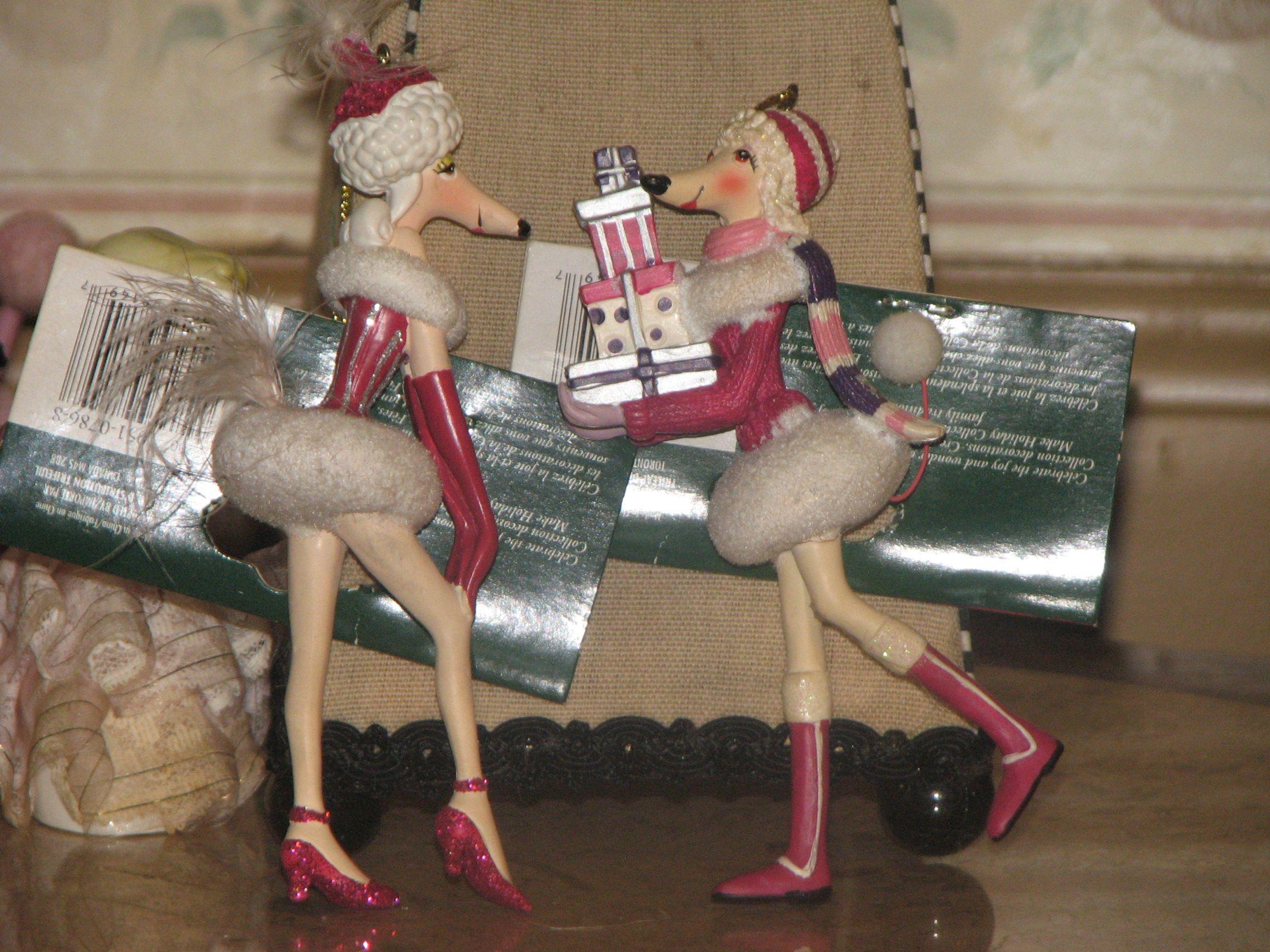 poodle Christmas ornaments