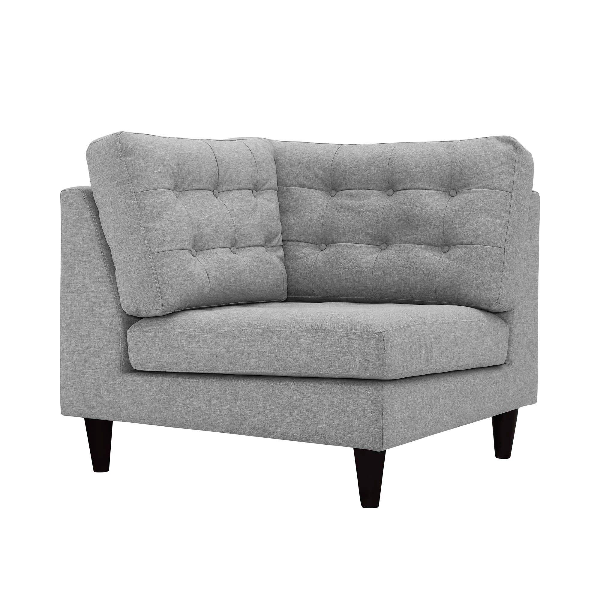 Empress Upholstered Fabric Corner Sofa Light Gray