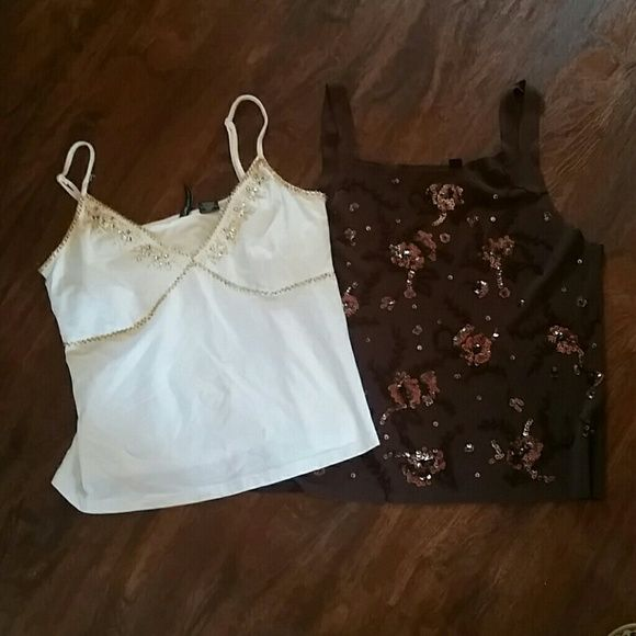2 piece lot of a brown & White Sparkle Ts Size Lar Excellent condition, both size large white brand cha cha vente, brown is cyrus cha cha vente  Tops Tank Tops